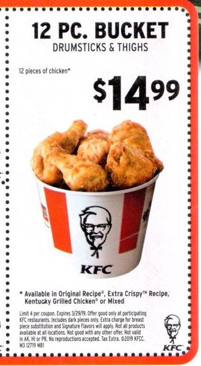 KFC Specials & Deals - $5 Fill Ups and Free Sandwich Coupon