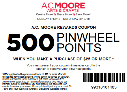 AC Moore Coupon - $10 Off Your Total Sale & Regular Price