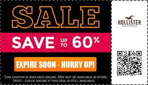 image about Hollister Printable Coupon identify Hollister Sale Deals - $10 OFF $25 Coupon and $25 Denims