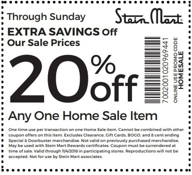 photograph relating to Steinmart Printable Coupons identified as Stein Mart Revenue - 20% off Any 1 Monthly price tag Solution