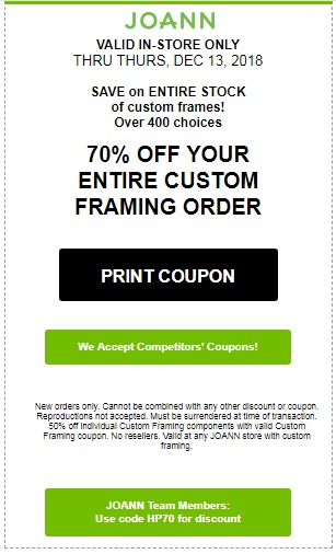 JOANN Coupon - 70% Off Your Entire Framing Custom Framing Order