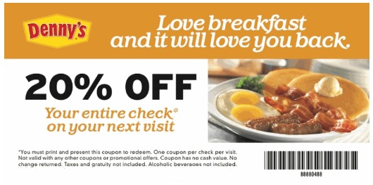 picture relating to Denny's Printable Coupons called Dennys Product sales - Choose 20% OFF Your Comprehensive Keep an eye on
