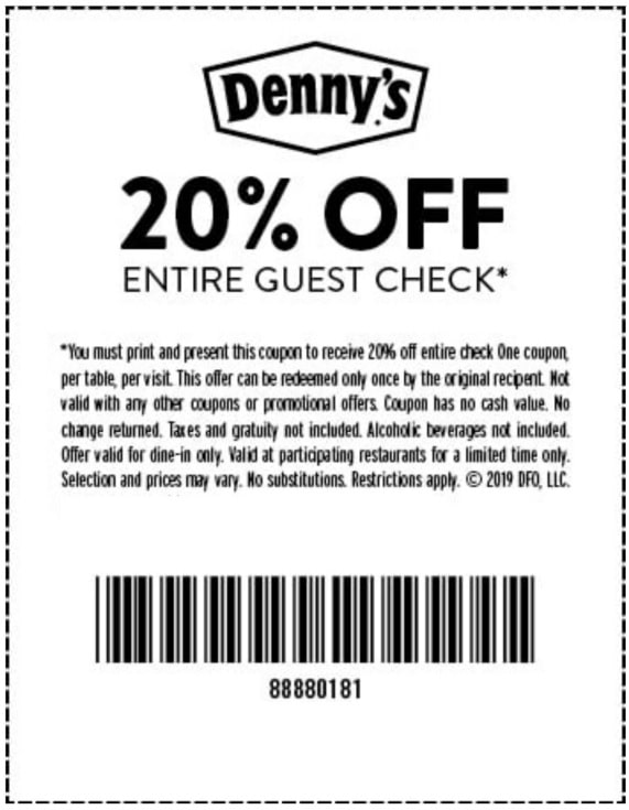 dennys coupons 20 off 2019