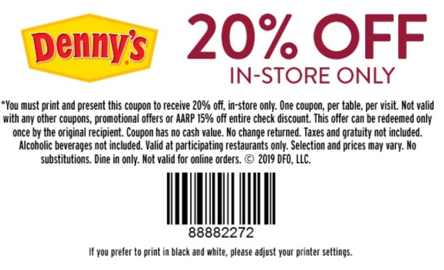 graphic regarding Denny's Printable Coupons titled Dennys Profits - Just take 20% OFF Your Finish Verify