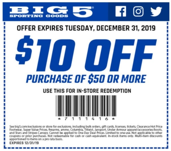 graphic about Big 5 Printable Coupons identify Significant 5 Carrying Products and solutions Sale - $10 Off your obtain of $60 or a lot more