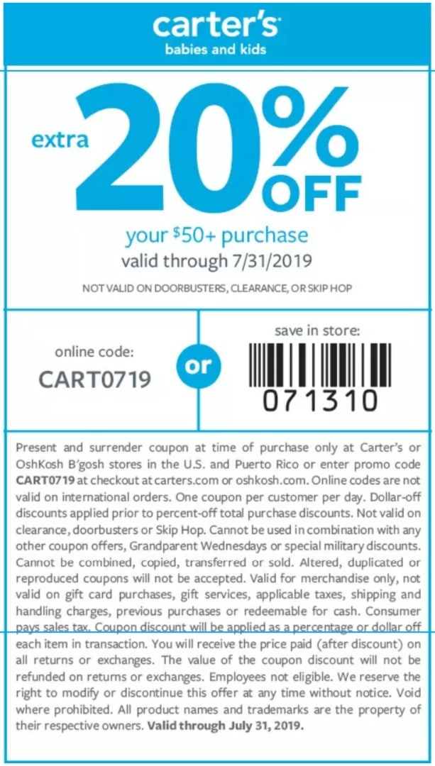 Carter S Sales Take Extra 20 Off Your 50 Purchase Coupon