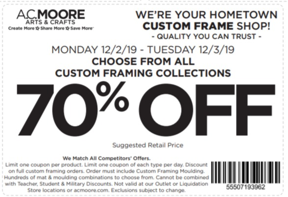 Ac Moore Coupon 70 Off Choose From All Custom Framing Collections